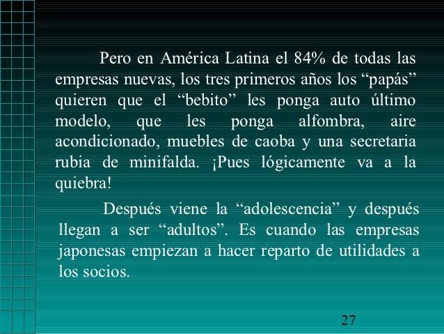 """Pero en América Latina el 84% de todas lasempresas nuevas, los tres primeros años los """"papás""""quieren que el """"bebito"""" les p..."""