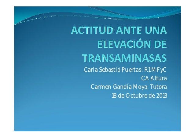 Carla Sebastiá Puertas: R1 MFyC CA Altura Carmen Gandía Moya: Tutora 18 de Octubre de 2013
