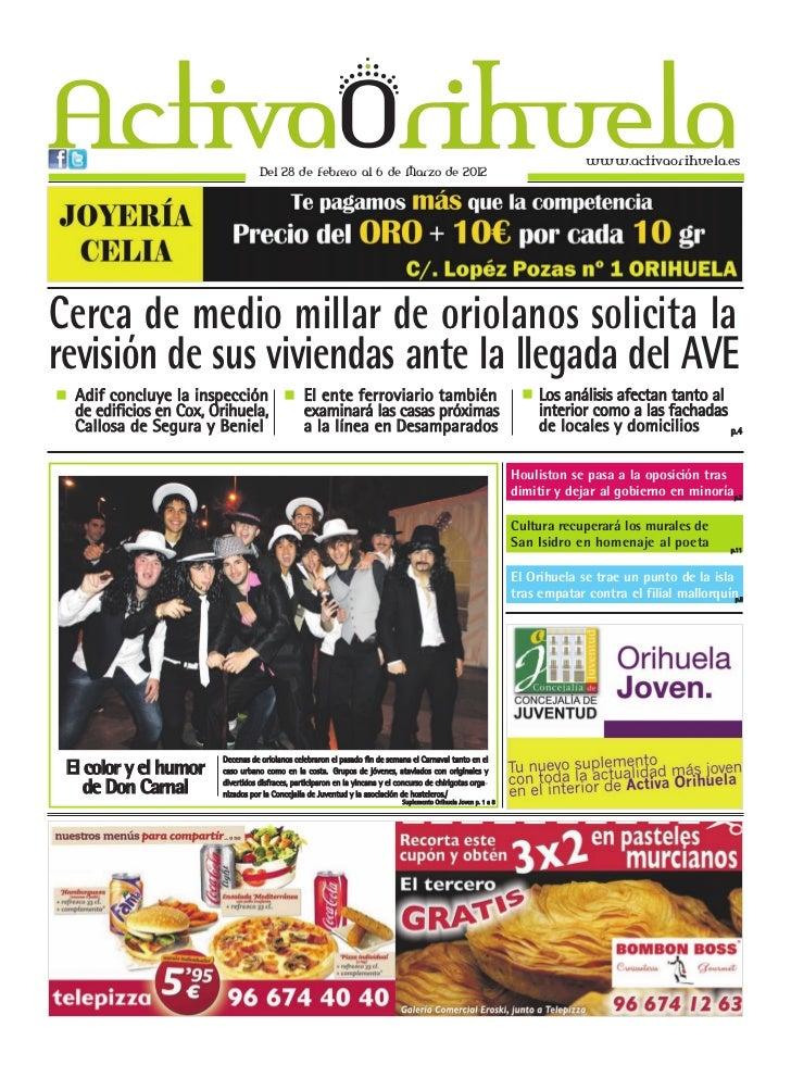 www.activaorihuela.es                                     Del 28 de Febrero al 6 de Marzo de 2012Cerca de medio millar de ...