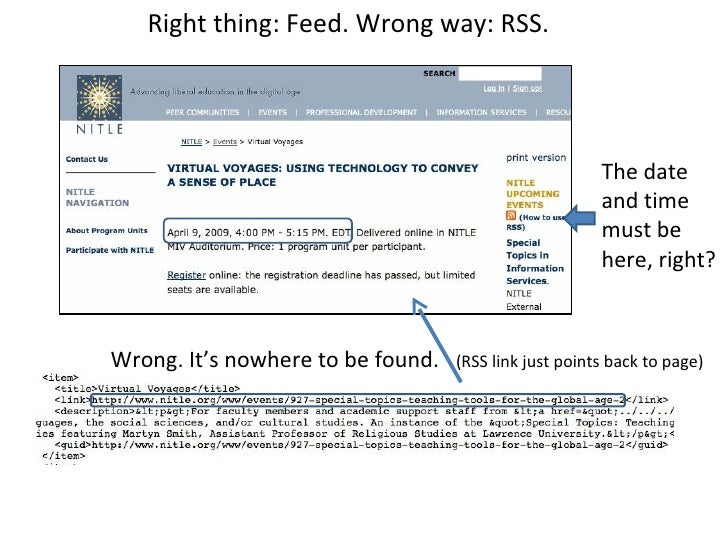 Right thing: Feed. Wrong way: RSS.                                                            The date                    ...