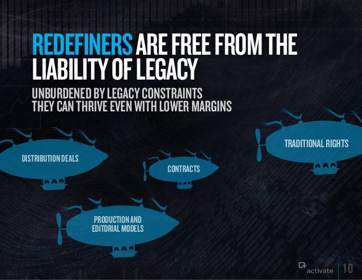 REDEFINERS ARE FREE FROM THE   LIABILITy OF LEGACy   UnbUrdened by legacy constraints   tHey can tHrive even witH lower ma...