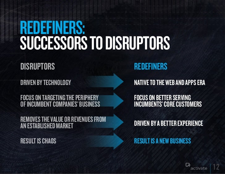 REDEFINERS:SuCCESSORS TO DISRuPTORSDISRUPTORS                           REDEFINERSDriven by technology                 NAT...