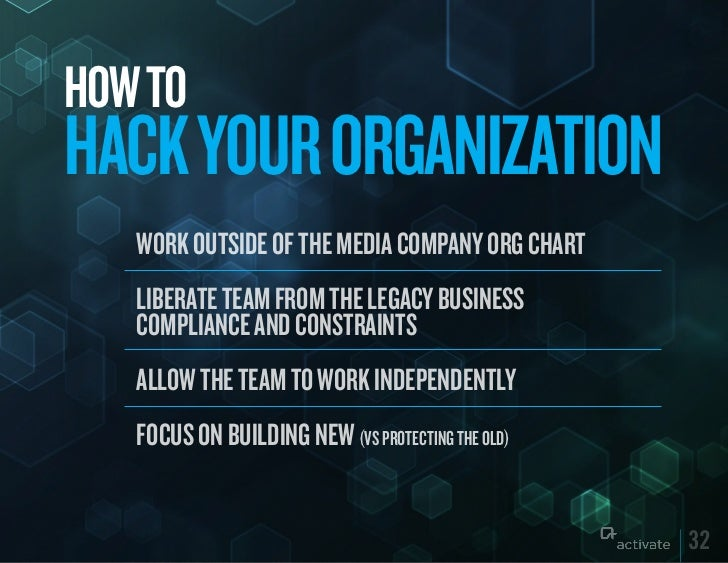HOW TOHACk yOuR ORGANIzATION   Work outside of the media company org chart   Liberate team from the Legacy business   comp...