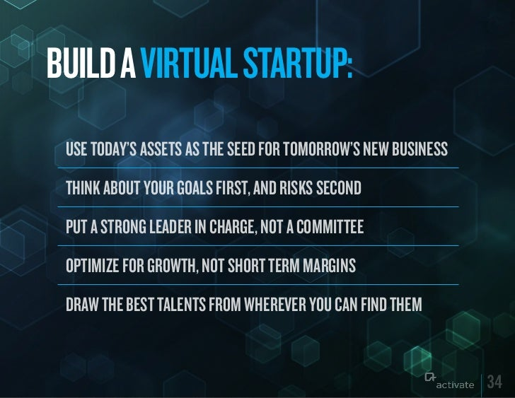 BuILD A VIRTuAL STARTuP: USE TODAY'S ASSETS AS THE SEED FOR TOMORROW'S NEW BUSINESS THINK ABOUT YOUR GOALS FIRST, AND RISK...
