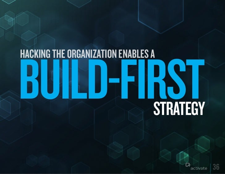 HACKING THE ORGANIZATION ENABLES ABuILD-FIRST                      STRATEGy                                            36