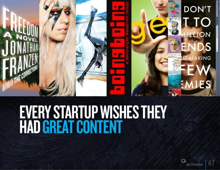 EVERy STARTuP WISHES THEyHAD GREAT CONTENT                            47