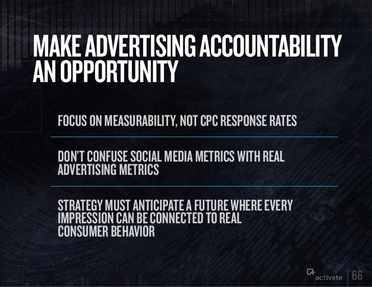 MAkE ADVERTISING ACCOuNTABILITyAN OPPORTuNITy  Focus on measurability, not cPc resPonse rates  Don't conFuse social meDia ...