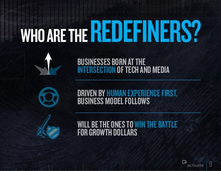 WHO ARE THE   REDEFINERS?         Businesses Born at the         intersection of tech and media         driven By human ex...