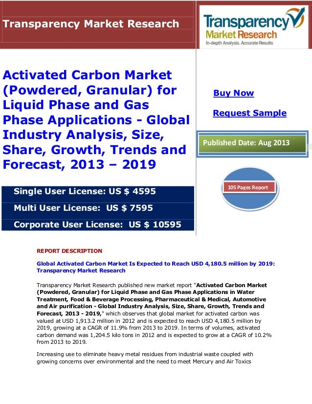 REPORT DESCRIPTION Global Activated Carbon Market Is Expected to Reach USD 4,180.5 million by 2019: Transparency Market Re...
