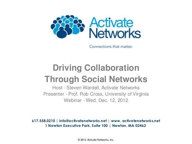 1© 2012 Activate Networks, Inc.617.558.0210   info@activatenetworks.net   www. activatenetworks.net1 Newton Executive Park...