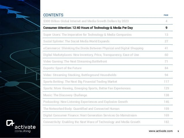 www.activate.com 9 PAGE $300 Billion Global Internet and Media Growth Dollars by 2023 4 Consumer Attention: 12:40 Hours of...