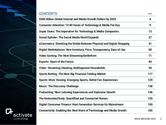 www.activate.com 3 $300 Billion Global Internet and Media Growth Dollars by 2023 4 Consumer Attention: 12:40 Hours of Tech...
