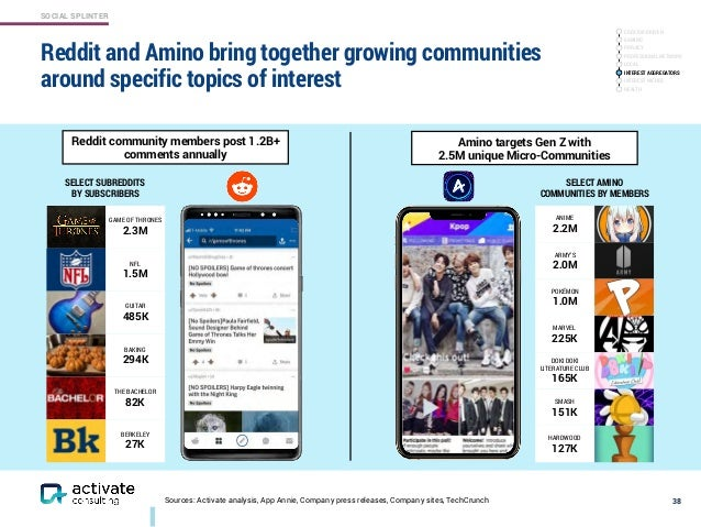 SOCIAL SPLINTER Sources: Activate analysis, App Annie, Company press releases, Company sites, TechCrunch Reddit and Amino ...