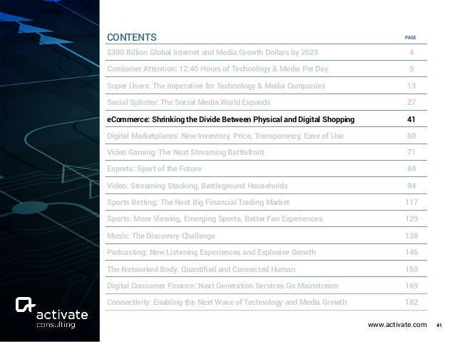 www.activate.com 41 PAGE $300 Billion Global Internet and Media Growth Dollars by 2023 4 Consumer Attention: 12:40 Hours o...