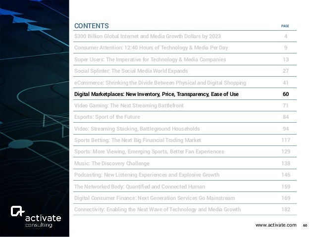 www.activate.com 60 PAGE $300 Billion Global Internet and Media Growth Dollars by 2023 4 Consumer Attention: 12:40 Hours o...