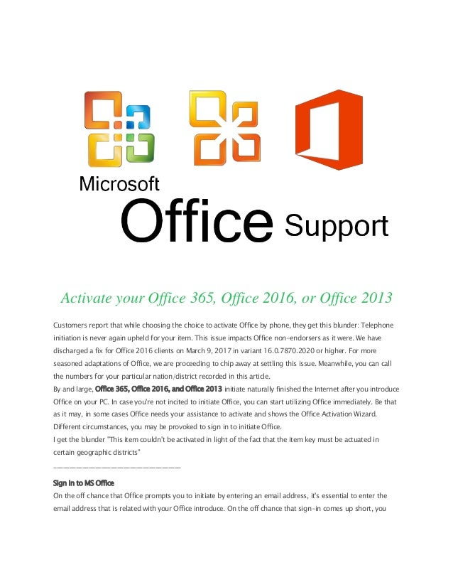 Activate your Office 365, Office 2016, or Office 2013 | www