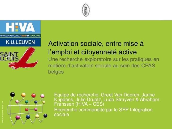 """Activation sociale, entre mise à                                                    l""""emploi et citoyenneté active        ..."""