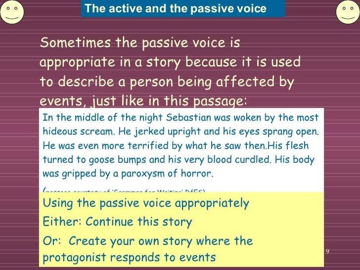 using active voice in essays 2018-2-7  this handout will explain the difference between active and passive voice in writing it gives examples of both, and shows how to turn a passive sentence into an active one also, it explains how to decide when to choose passive voice instead of active in a sentence using active voice, the subject.