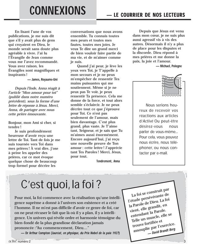 activé numéro 2 3 En lisant l'une de vos publications, je me suis dit que s'il y avait plus de gens qui croyaient en Dieu,...