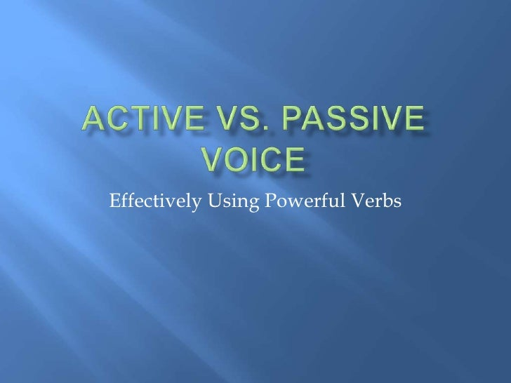 Effectively Using Powerful Verbs