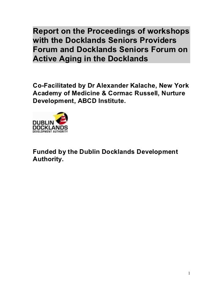 Report on the Proceedings of workshops with the Docklands Seniors Providers Forum and Docklands Seniors Forum on Active Ag...