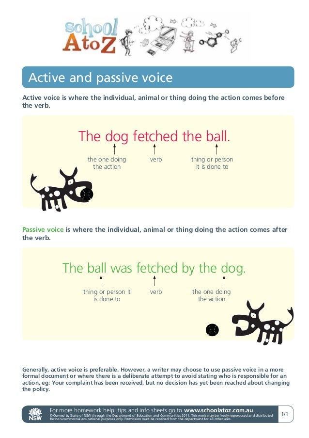 Active and passive voiceActive voice is where the individual, animal or thing doing the action comes beforethe verb.      ...
