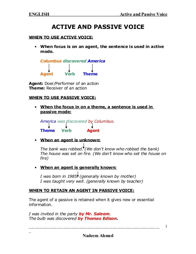 Active and passive voice with example