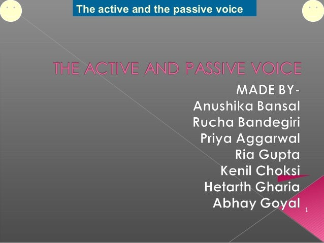 The active and the passive voice 1