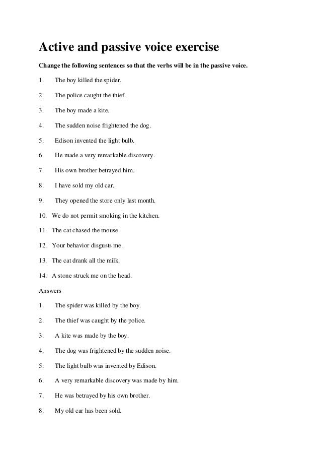 Active and passive voice exercise – Active Passive Voice Worksheet
