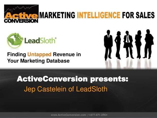 ActiveConversion presents: Jep Castelein of LeadSloth www.ActiveConversion.com | 1-877-871-2ROI Finding Untapped Revenue i...