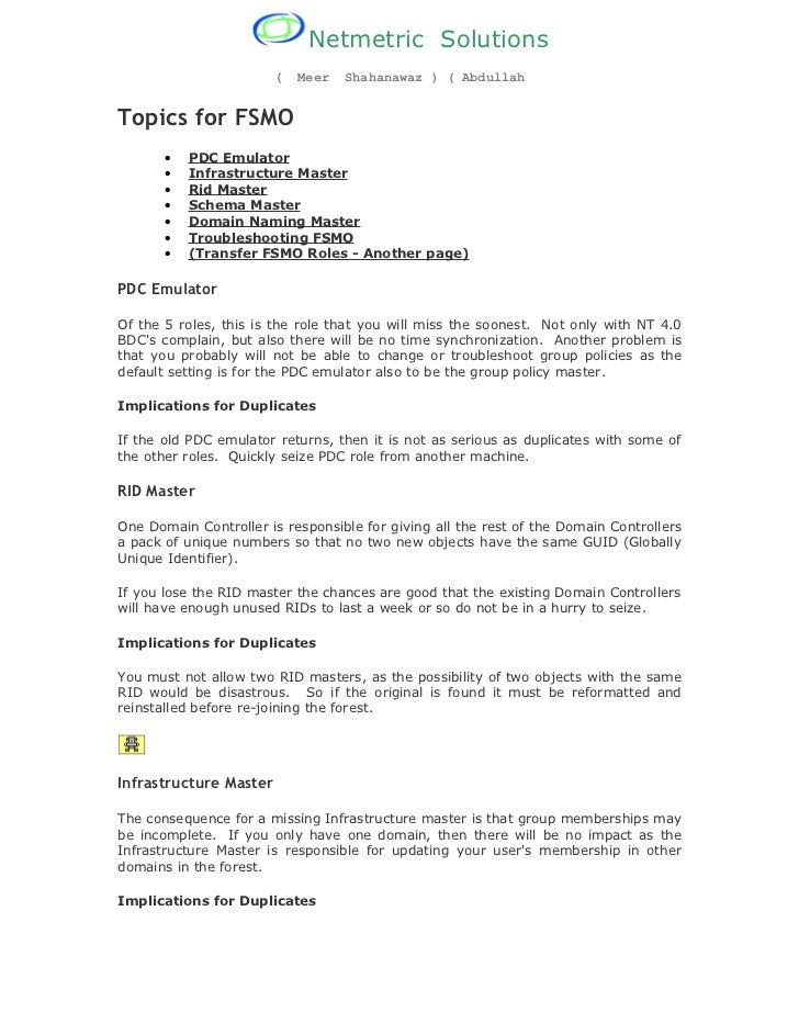 Netmetric Solutions                        (   Meer   Shahanawaz ) ( AbdullahTopics for FSMO       •   PDC Emulator       ...