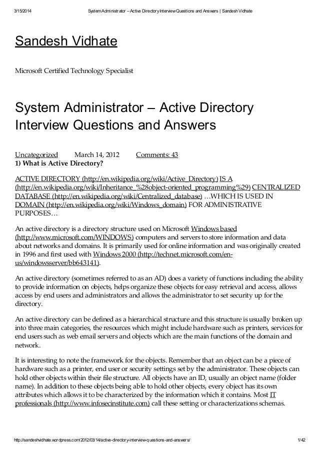 3/15/2014 System Administrator U2013 Active DirectoryInterview Questions And  Answers | Sandesh Vidhate ...  Interview Questions For Servers