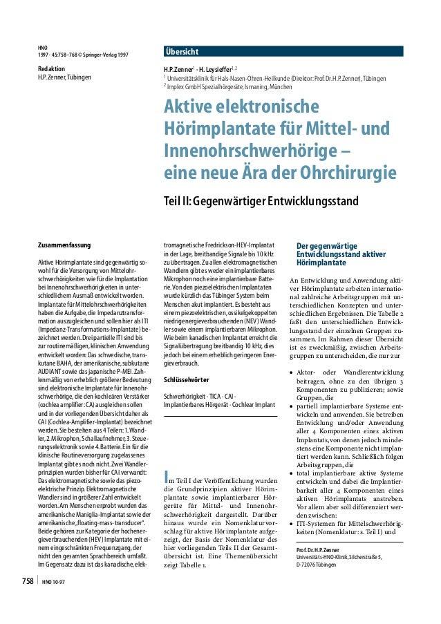 HNO     1997 · 45:758–768 © Springer-Verlag 1997       Übersicht     Redaktion                                      H.P. Z...
