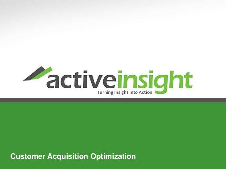 Turning Insight into Action   Customer Acquisition OptimizationCustomer Acquisition Optimization            www.activeinsi...