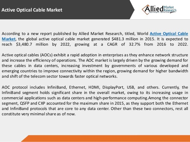 global research active optical cables market Global fiber optic devices market 2017 - research report by top manufacturers in global market type cables active optical cables (aoc.