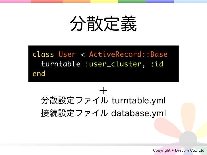 分散定義class User < ActiveRecord::Base  turntable :user_cluster, :idend               + 分散設定ファイル turntable.yml 接続設定ファイル datab...