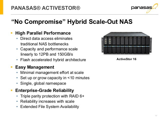 """16  PANASAS® ACTIVESTOR®  """"No Compromise"""" Hybrid Scale-Out NAS  § High Parallel Performance  • Direct data access elimina..."""