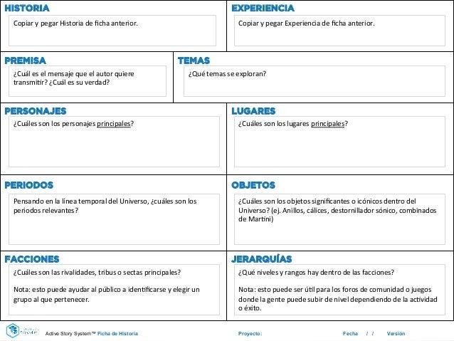 Proyecto: Fecha / / Versión HISTORIA EXPERIENCIA PREMISA TEMAS PERSONAJES LUGARES PERIODOS OBJETOS FACCIONES JERARQUÍAS Co...