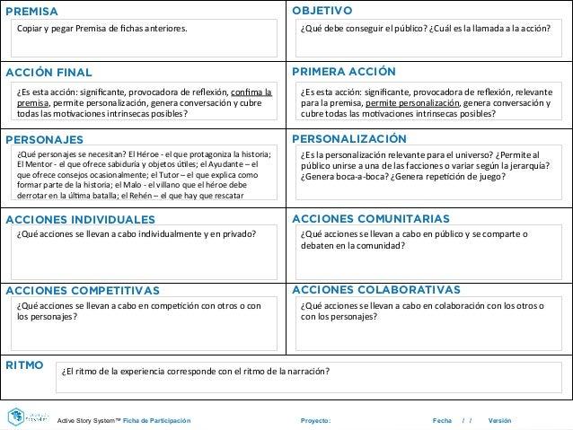 Proyecto: Fecha / / Versión PREMISA OBJETIVO ACCIÓN FINAL PRIMERA ACCIÓN PERSONAJES PERSONALIZACIÓN ACCIONES INDIVIDUALES ...