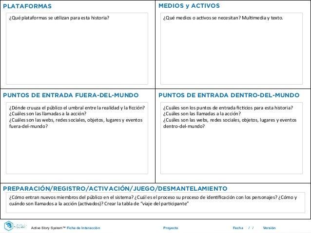 Proyecto Fecha / / Versión PLATAFORMAS MEDIOS y ACTIVOS PREPARACIÓN/REGISTRO/ACTIVACIÓN/JUEGO/DESMANTELAMIENTO PUNTOS DE E...
