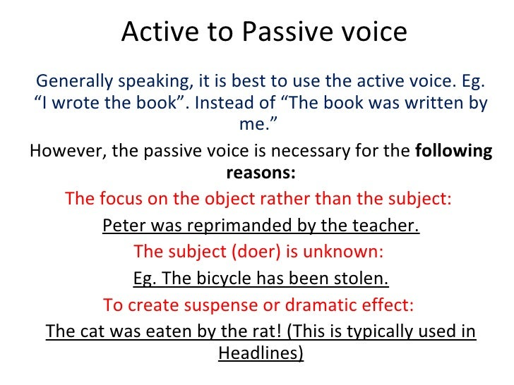 exercise on active and passive voice