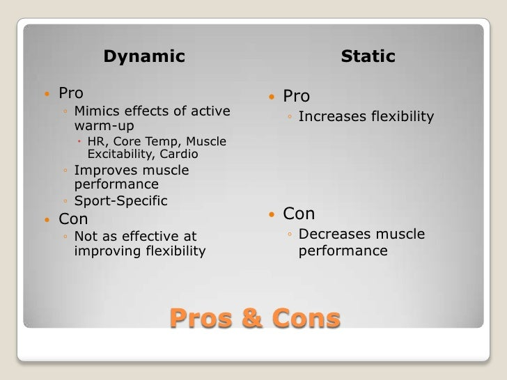 Active Warm Up, Dynamic & Static Stretching