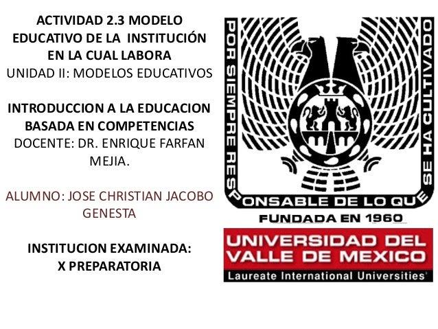 ACTIVIDAD 2.3 MODELO EDUCATIVO DE LA INSTITUCIÓN EN LA CUAL LABORA UNIDAD II: MODELOS EDUCATIVOS INTRODUCCION A LA EDUCACI...