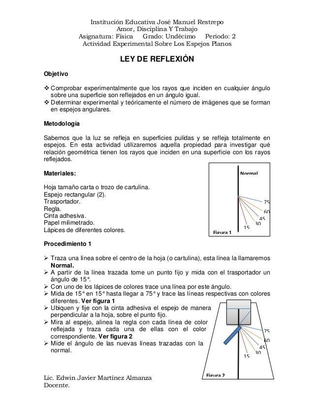Institución Educativa José Manuel Restrepo Amor, Disciplina Y Trabajo Asignatura: Física Grado: Undécimo Periodo: 2 Activi...