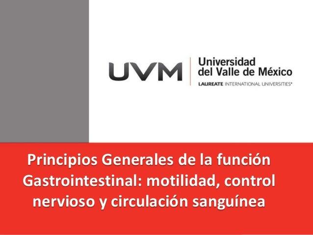 Principios Generales de la función Gastrointestinal: motilidad, control nervioso y circulación sanguínea
