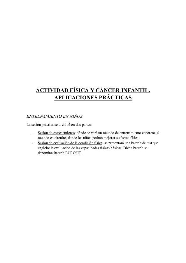 ACTIVIDAD FÍSICA Y CÁNCER INFANTIL.  APLICACIONES PRÁCTICAS    ENTRENAMIENTO EN NIÑOS  L...