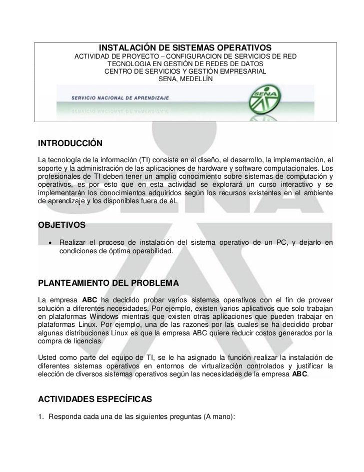 INSTALACIÓN DE SISTEMAS OPERATIVOS           ACTIVIDAD DE PROYECTO – CONFIGURACION DE SERVICIOS DE RED                    ...