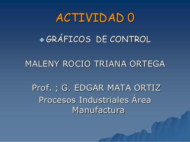 ACTIVIDAD 0  GRÁFICOS DE CONTROL MALENY ROCIO TRIANA ORTEGA Prof. ; G. EDGAR MATA ORTIZ Procesos Industriales Área Manufa...