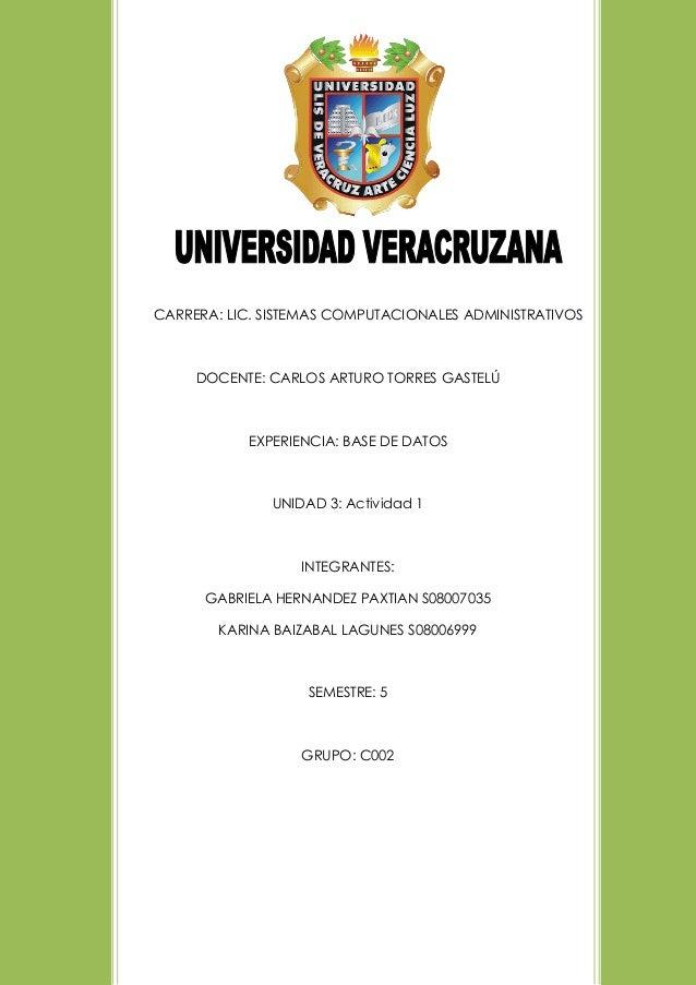 CARRERA: LIC. SISTEMAS COMPUTACIONALES ADMINISTRATIVOS DOCENTE: CARLOS ARTURO TORRES GASTELÚ EXPERIENCIA: BASE DE DATOS UN...