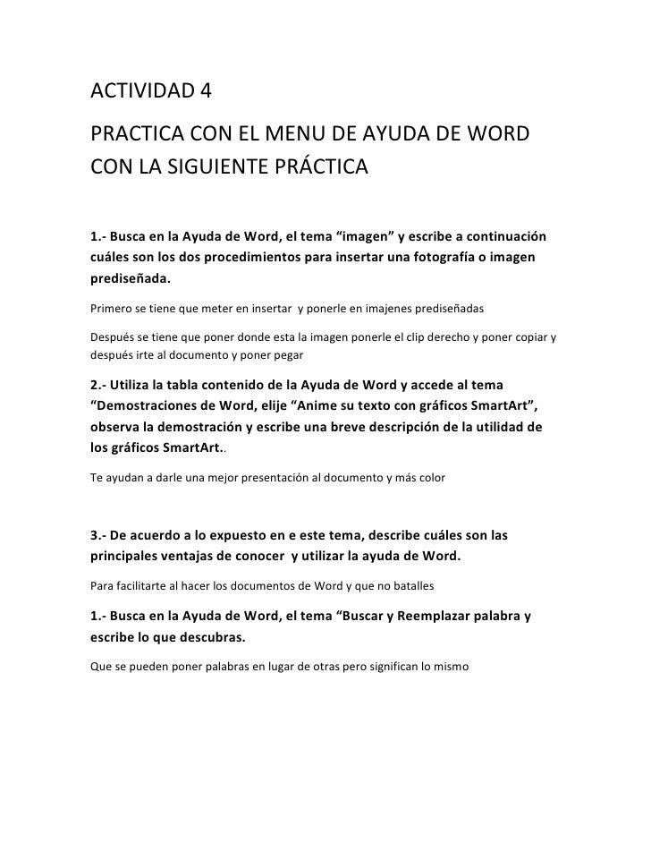 """ACTIVIDAD 4PRACTICA CON EL MENU DE AYUDA DE WORDCON LA SIGUIENTE PRÁCTICA1.- Busca en la Ayuda de Word, el tema """"imagen"""" y..."""